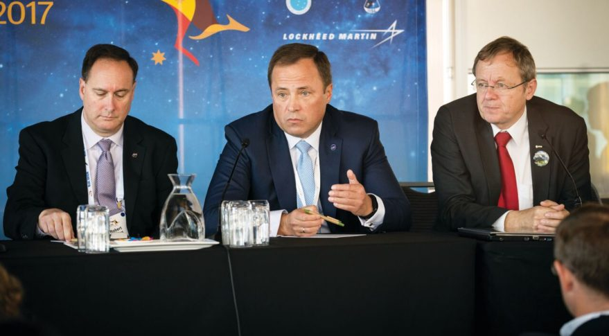 NASA Acting Administrator Robert Lightfoot, left, and Roscosmos Director Igor Komarov at the World Space Congress in Australia on Sept. 25. (Credit: IAF via Flickr)