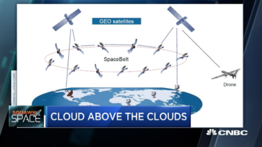Cloud Constellation's SpaceBelt system would rely on geostationary satellites to connect to users and the ground. SpaceBelt satellites wouldn't communicate directly with the ground. (Credit: Cloud Constellation)