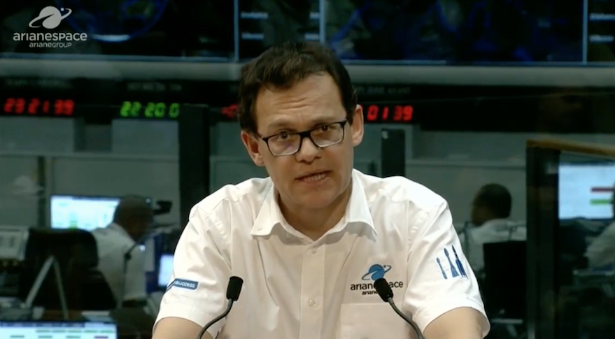 Arianespace CEO Stephane Israel announcing Jan. 25 that an Ariane 5 carrying SES-14 and Al Yah 3 lost contact with the ground shortly after ignition of the rocket's upper stage.  The company later announced the satellites made it to orbit despite the anomaly. Credit: video still from Arianespace webcast