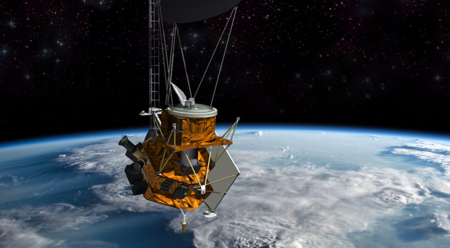 This artist's concept shows the new Weather System Follow-on – Microwave satellite Ball Aerospace is building for the U.S. Air Force under a contract awarded in November. It includes a passive microwave imaging radiometer instrument and energetic charged particle sensor supplied by the government. Credit: Ball Aerospace
