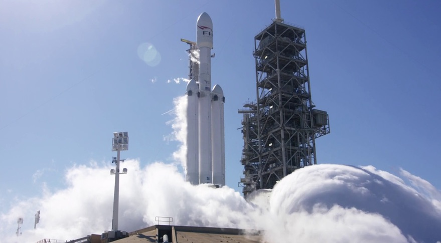 SpaceX Test-Fires Falcon Heavy Rocket Ahead of Maiden Flight