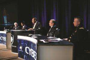 A scene from the Space Symposium's 2014 Cyber event. The one-day conference has since been restricted to U.S. citizens with Top Secret clearance. (Credit: Space Foundation)