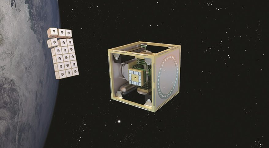 Aerospace Corp. engineers used iLab time to refine a concept for self-assembling Hive satellites. (Credit: Aerospace Corp.)