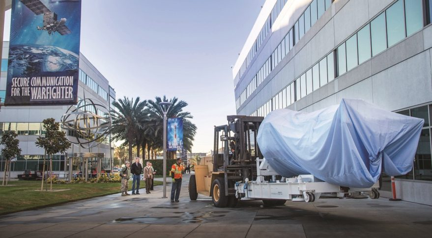 The last Defense Meteorological Support Program (DMSP) arrived Dec. 17 at the Space and Missile System Center, Los Angeles Air Force Base, where it will be put on display. (Credit: U.S. Air Force)