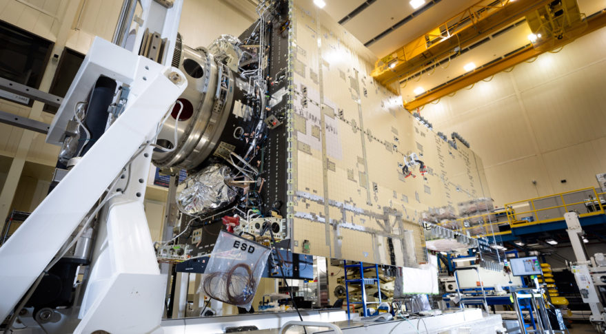 The Hellas-Sat-4 communications satellite after spacecraft integration in a Lockheed Martin clean room near Denver.