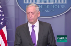 Defense Secretary James Mattis at the White House  briefing room. Credit: CSPAN