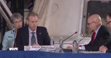 Air Force Secretary Heather Wilson, Deputy Defense Secretary Patrick Shanahan and National Security Adviser H.R. McMaster  attend the National Space Council meeting Feb. 21, 2018. Credit: YouTube