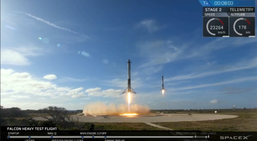 Two of Falcon Heavy's three core stages make a synchronized landing. The third core stage was programmed to land on a droneship at sea. Credit: SpaceX via Twitter.