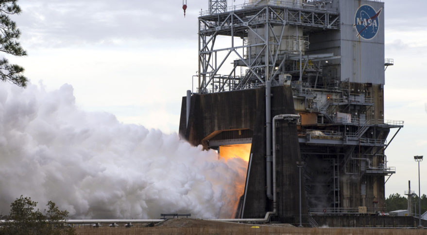 NASA conducts a hot fire of the Space Launch System engine at Stennis Space Center, Mississippi. Credit: NASA