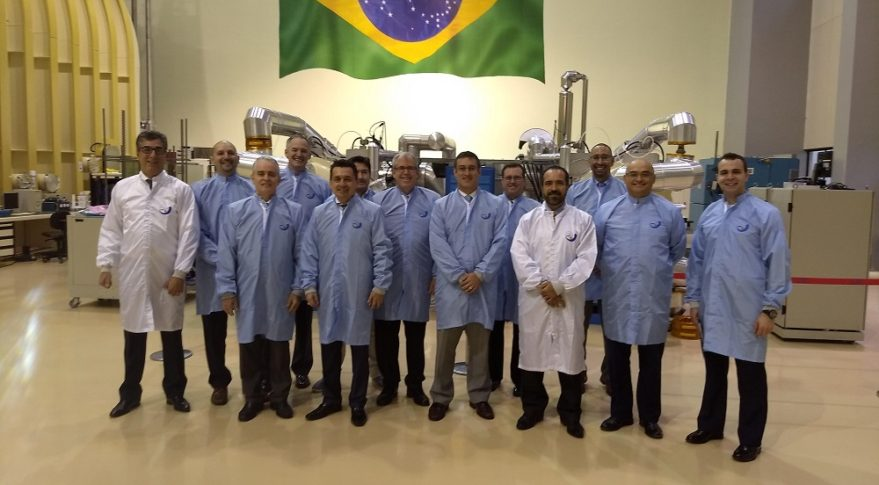 The delegation at Integration and Testing Laboratory (satellites), Sao Jose dos Campos. Credit: CompTIA Space Enterprise Council.
