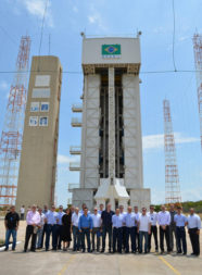 The group with Brazilian Air Force officers in front of a mobile integration tower. Courtesy of CompTIA Space Enterprise Council.