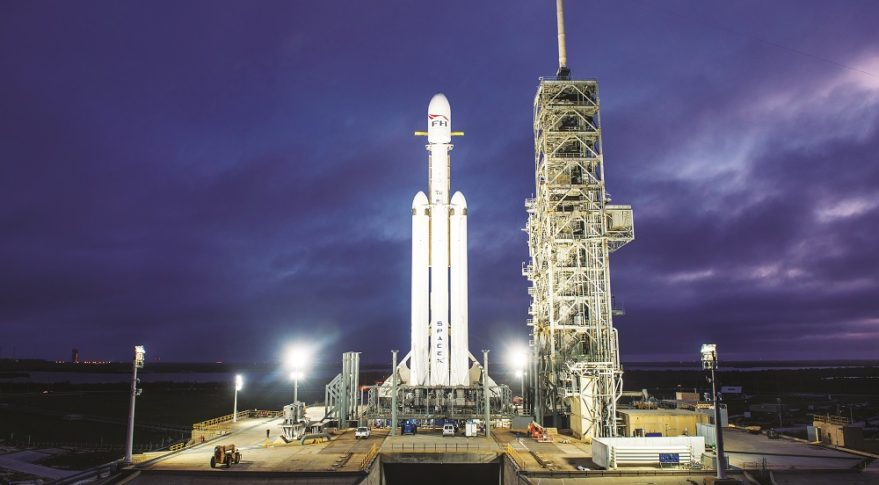 "SpaceX's Falcon Heavy rocket, which made its debut Feb. 6, is the foundation of author Robert Zubrin's ""Moon Direct"" plan for affordably returning humans to the moon within four years. Credit: SpaceX"