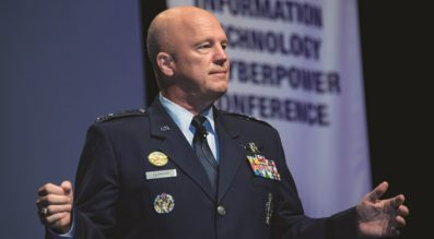 Gen. Jay Raymond, Air Force Space Command commander, speaks to the Air Force Information Technology and Cyberpower Conference in Montgomery, Ala., Aug. 28, 2017. Credit:   U.S. Air Force