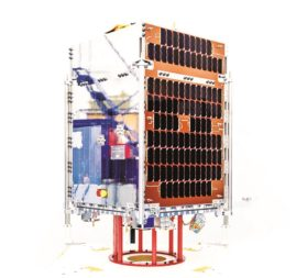 A Telesat LEO prototype satellite built by SSTL launched in January on an Indian PSLV rocket. Credit: SSTL/Kathryn Graham
