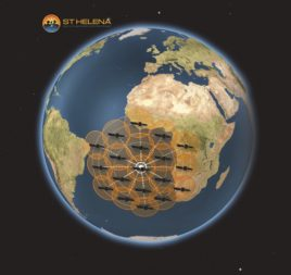 St. Helena officials say megaconstellations that lack inter-satellite links could use a gateway on the island to provide coverage across much of the South Atlantic Ocean. Credit: Connect St. Helena