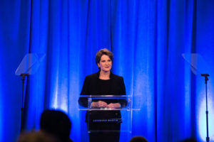 Lockheed Martin's Chairman, President and CEO Marillyn Hewson addresses reporters at the company's annual Media Day. (PRNewsfoto/Lockheed Martin)