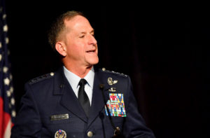 Air Force Chief of Staff Gen. David Goldfein honors scholarship recipients during a gala hosted by ThanksUSA, an organization dedicated to supporting families of fallen service members with educational benefits, in Washington, D.C., on Oct. 25, 2017.  (U.S. Air Force photo by Scott M. Ash)