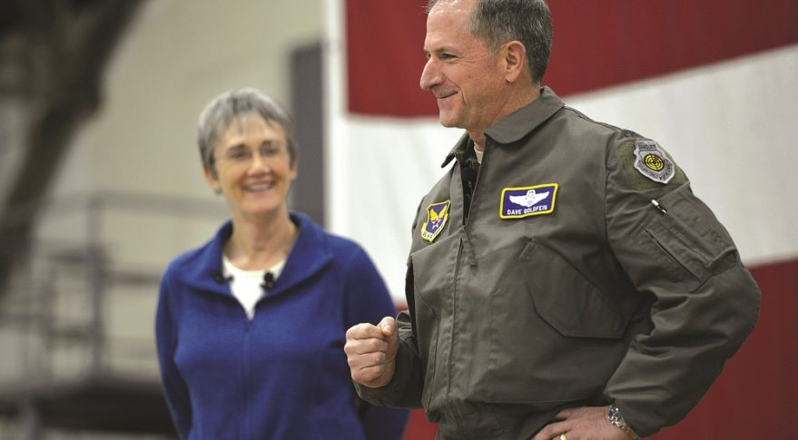 U.S. Air Force Secretary Heather Wilson and Air Force Chief of Staff David Goldfein, shown during a January visit to an air base in South Korea, are pushing for replacing the service's fleet of aging JSTARS aircraft with an advanced battle management system that includes satellites. Members of Congress representing JSTARS bases and contractors are pushing back. Credit: U.S. Air Force/Staff Sgt. Franklin R. Ramos