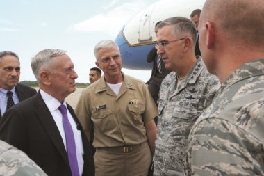 Gen. John Hyten, right, welcomes U.S. Defense Secretary James Mattis, left, to Offutt Air Force Base, Nebraska, home of U.S. Strategic Command. Credit: US Stratcom/Steve Cunningham