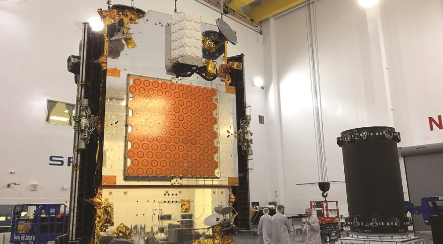 An Iridium Next satellite undergoes pre-launch preparations at a SpaceX facility at Vandenberg Air Force Base, California, in preparation for a March 29 launch. Credit: Iridium