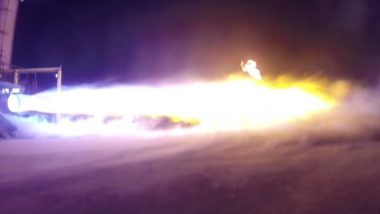 A still from a video released by Blue Origin March 13 showing a recent 114-second BE-4 engine test. Credit: Blue Origin