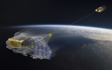 ESA's e.Deorbit mission is developing technology to capture Envisat in orbit using a robotic arm or net. Credit: ESA-David Ducros