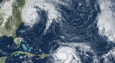 This image from the National Oceanic and Atmospheric Agency's GOES-13 satellite shows Hurricane Maria headed for Puerto Rico on Sept. 19, 2017 and Hurricane Jose approaching New England. Credit: NASA