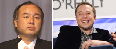 SoftBank CEO Masayoshi Son (left) and SpaceX CEO Elon Musk (right) are both worth roughly $20 billion on paper, but Masa's telecom ventures generate massive amounts of cash while Musk's biggest company, Tesla, is still losing money. Credit: Flickr.com