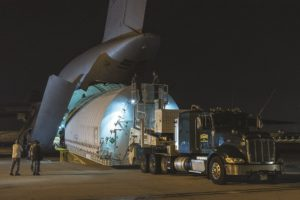 A custom cargo container holding JWST's optical telescope assembly is loaded into a C-5 aircraft in Houston on Jan. 31 for transport to Northrop Grumman's Redondo Beach, California, facility. Credit: NASA Johnson Space Center