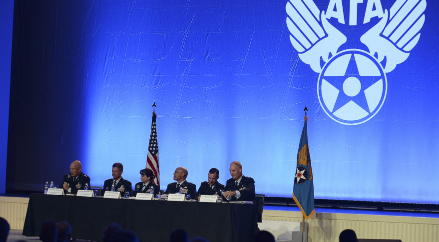 Members from the Air Space Command, speak during the Nuclear Deterrence panel at the Air Space, Cyber Conference in National Harbor, Md., Sept. 19, 2017. (U.S. Air Force photo / Staff Sgt. Chad Trujillo)