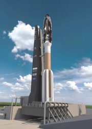 "Dream Chaser, shown here atop an Atlas 5, is being designed to be ""rocket agnostic."" ""We are working with many launch providers and they are coming up with very affordable new launch vehicles in the 2021 timeframe,"" says SNC President Eren Ozmen. Credit: Sierra Nevada Corp."