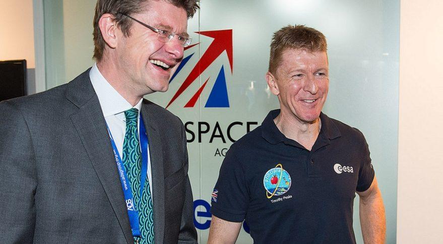 U.K. Business Secretary Greg Clark, left, and Tim Peake, a European Space Agency astronaut. Credit: U.K. Space Agency