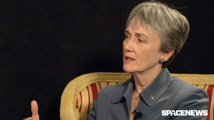 air force secretary heather wilson in conversation with spacenews