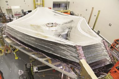Deploying and refolding JWST's many-layered sunshield took much longer than NASA expected. Moreover, the sunshield experienced several tears during the deployment test. Credit: NASA