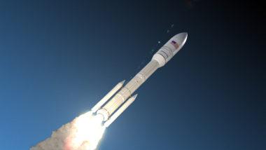 An artist's concept of Orbital ATK's OmegA rocket in flight.
