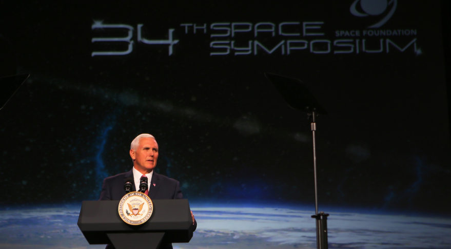 Vice President Mike Pence delivers keynote at 34th Space Symposium. Credit: Tom Kimmell for SpaceNews.