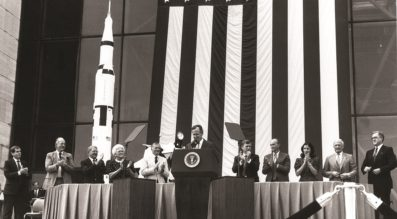 """July 20, 1989: """"From the voyages of Columbus, to the Oregon Trail, to the journey to the moon itself, history proves that we have never lost by pressing the limits of our frontiers."""" U.S. President George H. W. Bush, announcing the Space Exploration Initiative. Credit: NASA"""