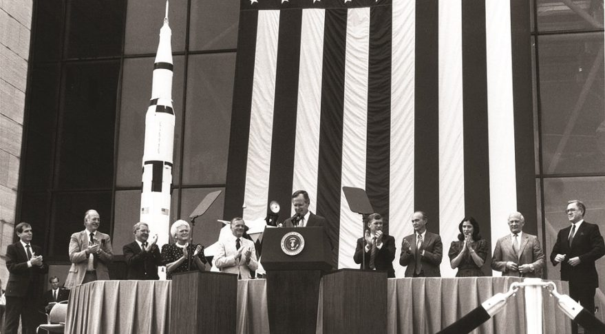 "July 20, 1989: ""From the voyages of Columbus, to the Oregon Trail, to the journey to the moon itself, history proves that we have never lost by pressing the limits of our frontiers."" U.S. President George H. W. Bush, announcing the Space Exploration Initiative. Credit: NASA"