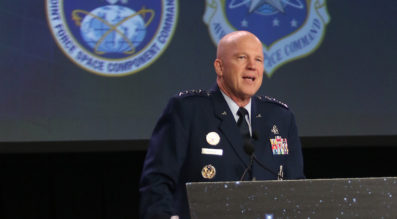 """Gen. John W. """"Jay"""" Raymond, who leads Air Force Space Command, emphasized close coordination with the National Reconnaissance Office during an April 18 press briefing."""