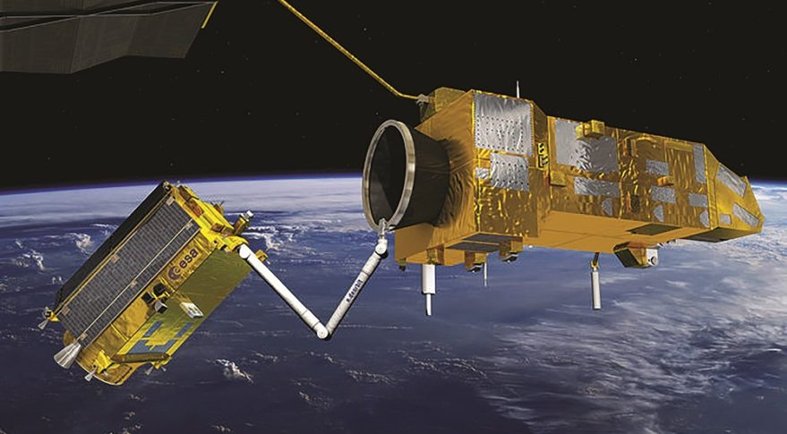ESA was planning the most ambitious debris removal demonstration: capturing its 8,000-kilogram Envisat environmental-monitoring satellite in 2023 and performing a controlled atmospheric reentry. Now, ESA is exploring synergies between on-orbit servicing and debris removal spacecraft. Credit: ESA