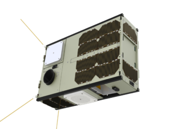 A GomSpace GOMX-4 cubesat measuring 30x20x10 centimeters