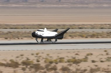 Dream Chaser glides to a successful landing at NASA's Armstrong Flight Research Center in California following a Nov. 11 free-flight test. Credit: NASA