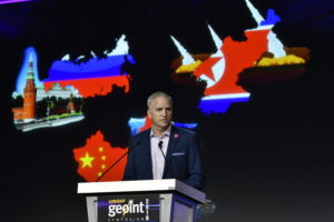 NGA Director Robert Cardillo speaking at the 2018 GEOINT Symposium in Tampa, Florida.