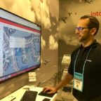 Josh Nauman, Harris chief solutions engineer demonstrates Distributed, All-source Geospatial analytics Resource at the 2018 GEOINT Symposium in Tampa, Florida. Credit: SpaceNews/Debra Werner