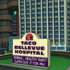 """""""Futurama,"""" the short-lived animated series that had a knack for nailing absurd predictions, envisioned the Taco Bellevue Hospital where patients could """"supersize"""" their babies or try the """"new chemo loco."""" So why not a space station? Credit: """"Futurama"""" frame grab/ 20th Century Fox Television"""
