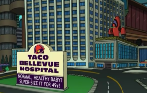 """Futurama,"" the short-lived animated series that had a knack for nailing absurd predictions, envisioned the Taco Bellevue Hospital where patients could ""supersize"" their babies or try the ""new chemo loco."" So why not a space station? Credit: ""Futurama"" frame grab/ 20th Century Fox Television"
