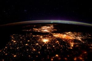 Europe at Night ISS Time Peake
