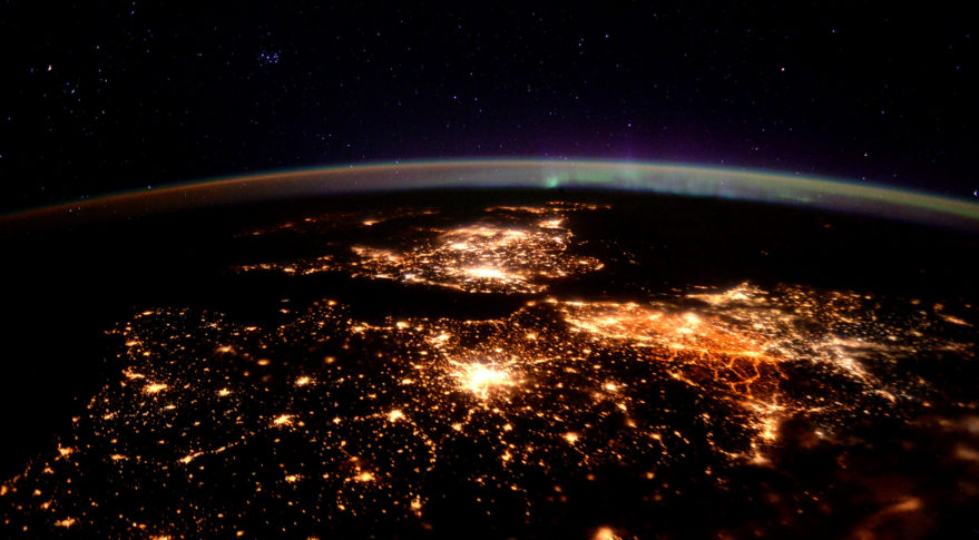 Europe at Night ISS Time Peake