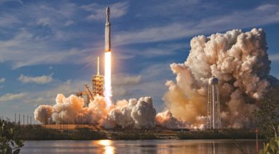 SpaceX's Falcon Heavy rocket lifts off Feb. 6 on its maiden launch carrying a Tesla Roadster on a Mars-bound trajectory. Credit: SpaceX