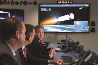NASA Administrator Jim Bridenstine, right, speaks to NASA Associate Administrator for the Science Mission Directorate, Thomas Zurbuchen, center, and NASA Chief Financial Officer, Jeff DeWit, following the May 5 launch of NASA's InSight spacecraft on a United Launch Alliance Atlas 5 rocket. Credit: NASA/Aubrey Gemignan